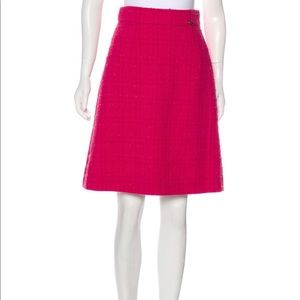 Chanel A 09 Fuschia Tweed Wool Skirt size 6 Small
